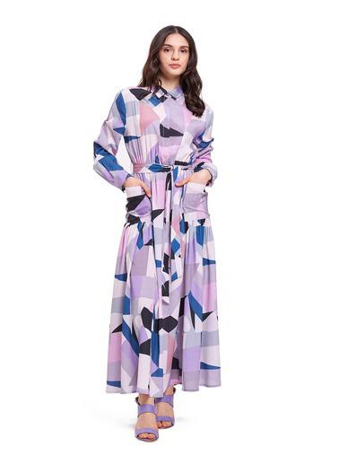 Mizalle Dijital Baskılı Cepli Elbise Lila